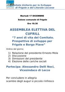 ASSEMBLEA ELETTIVA MARTEDI' 17.12.19